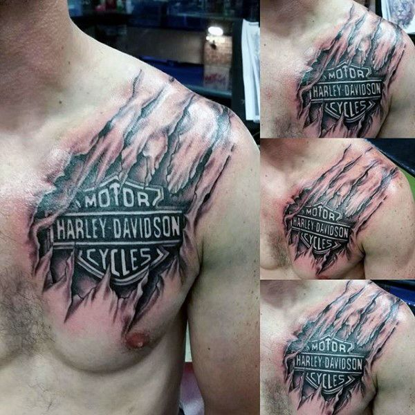Mens Torn Ripped Skin Harley Davidson Logo Upper Chest Tattoos