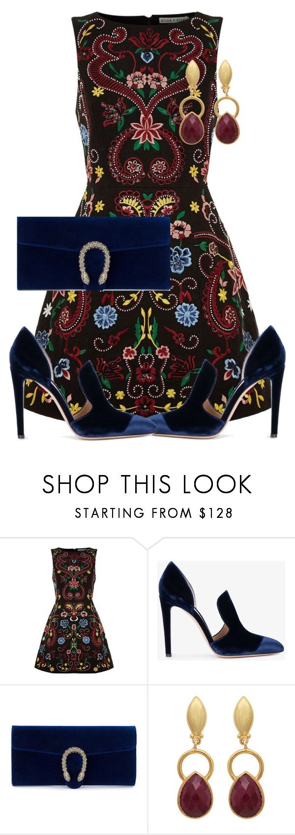 """""""Crushed Velvet"""" by claire394 ❤ liked on Polyvore featuring Alice + Olivia, Gianvito Rossi and Gucci"""