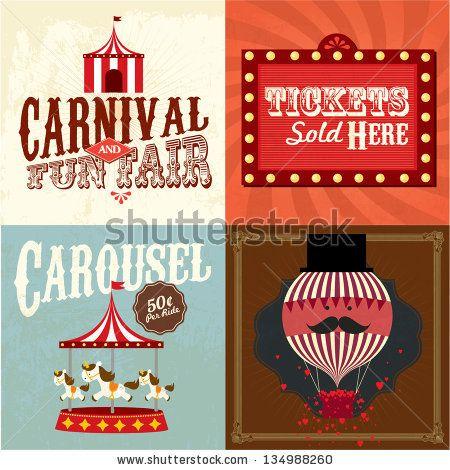Vintage carnival/fun fair template vector/illustration by lyeyee, via ShutterStock