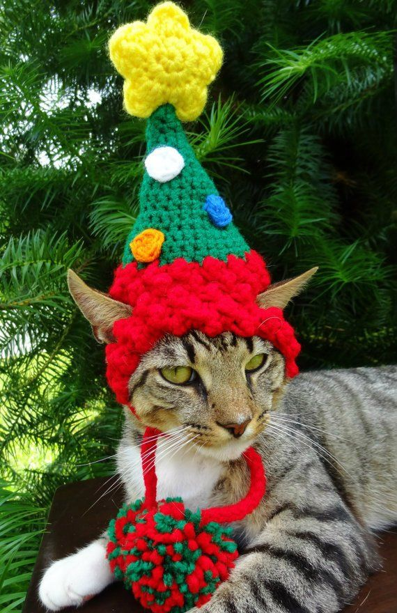 Christmas Cat Costume Hat The Christmas Tree Hat For Cats Etsy Christmas Cats Christmas Tree Hat Christmas Dog