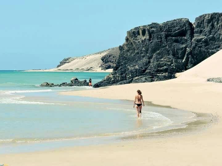 Playa de El Salmo Costa de sotavento, Fuerteventura, Islas Canarias, Spain.