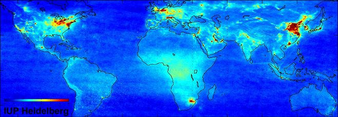 ESA/Heidelberg Institute for Environmental Physics map, showing nitrogen dioxide levels between January 2003 and June 2004. (Hysteria aside, we need to keep reducing industrial emissions.)