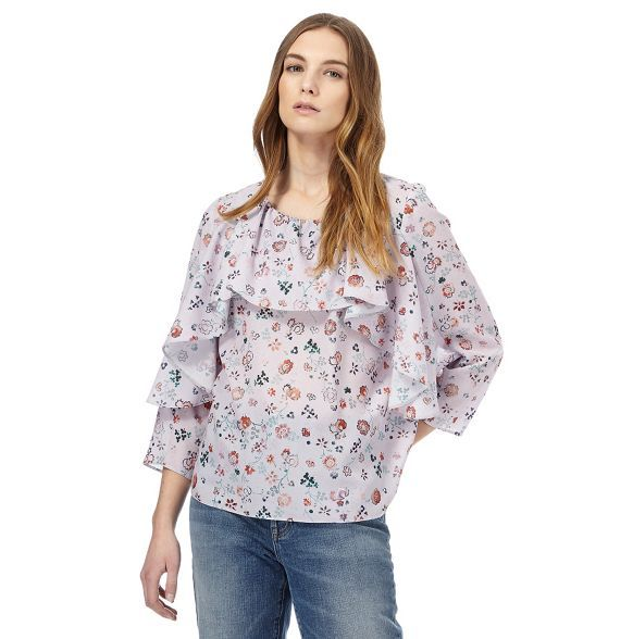 From the 'Nine' collection by Savannah Miller, this top will team effortlessly with a pair of leather-look trousers and high courts to add an edgy touch to a feminine style. In a relaxed and lightweight chiffon finish, this pretty piece features an all-over tattoo print with frilled detailing and a keyhole button fastening at the nape.
