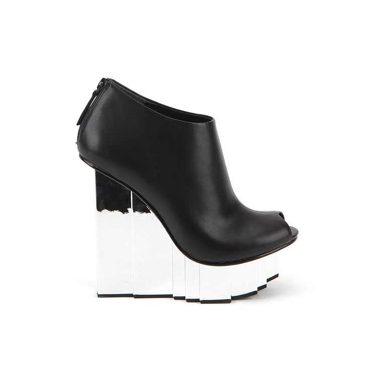 United Nude Rockfeller Peeptoe Bootie Black Nappa Shoes