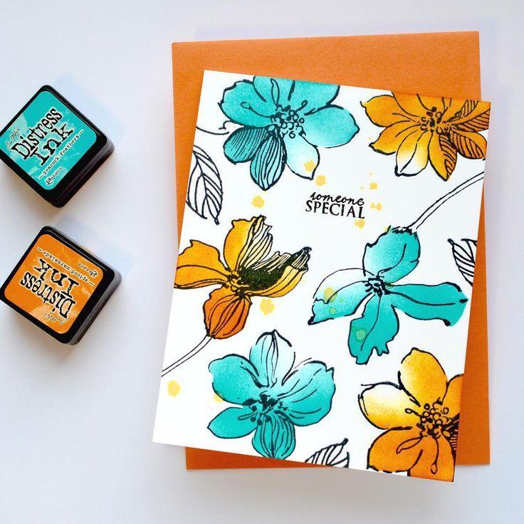 А сегодня открыточка номер два для #cas_cardmaker_2015 палитра оранжевый и голубой:) (хотя это не та самая... Один из прототипов:))) / Second card for the #cas_cardmaker_2015 based on a color palette, one-layer card with #altenew flowers #cardmaking #cards #stamping #coloring #штампинг #кардмейкинг #ручнаяработа #открытки #открыткаручнойработы