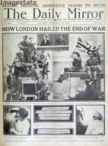 during the end of world war 1, news paper article.