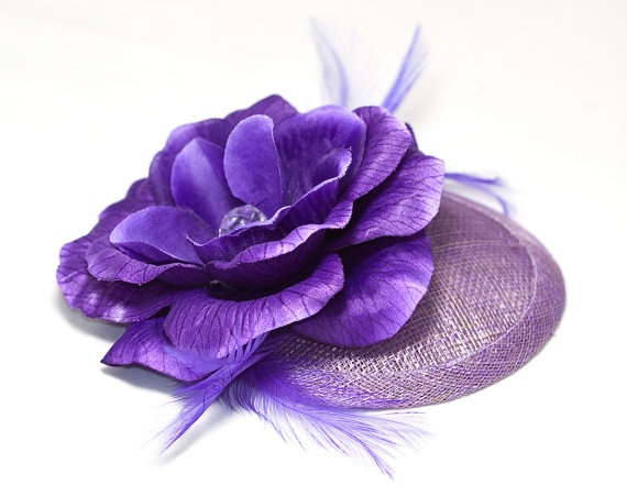 Purple hat with flower