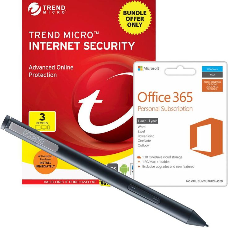 Wacom - Bamboo Ink Stylus, Microsoft Office 365 Personal & Trend Micro Internet Security 2017 Package