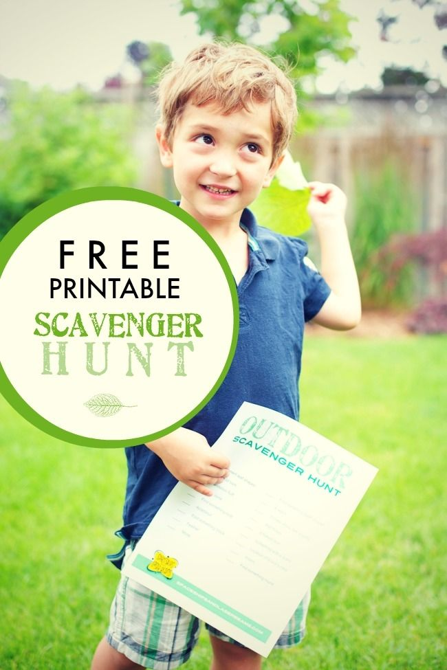 Outdoor scavenger hunt for kids, with shape recognition and more.