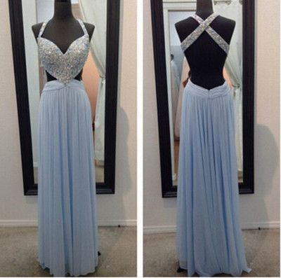 Blue Prom Dresses,Sparkly Prom Dress,Straps Prom Gown,Backless Prom Dresses,A…