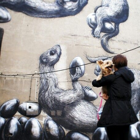 Mural by ROA. Lodz, Poland.
