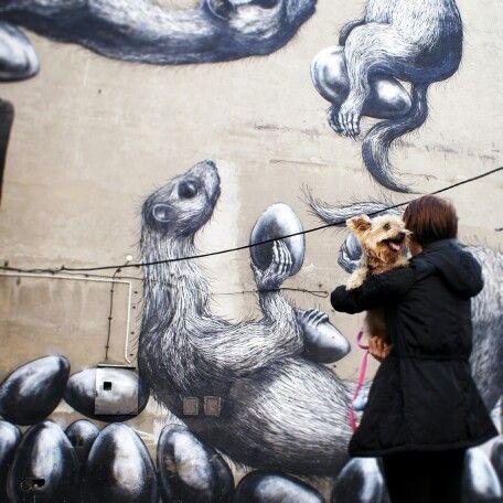 Mural by ROA. Lodz, Poland.