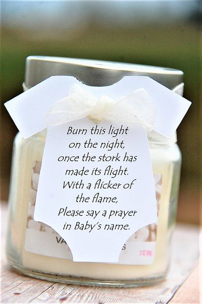 Baby Shower Candle Party Favors ~ Burn this light on the night once the stork has made its flight ~ Onesie Thank You Gift Tags ~ www.kendollmade.com