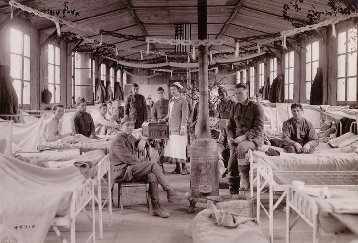 A festive ward at Camp Hospital №33, in Brest, Finistere, France, December 1918. Courtesy of the Army Medical Department Center of History and Heritage.