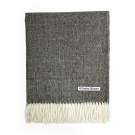 Simple Things Herringbone Grey Alpca Throw