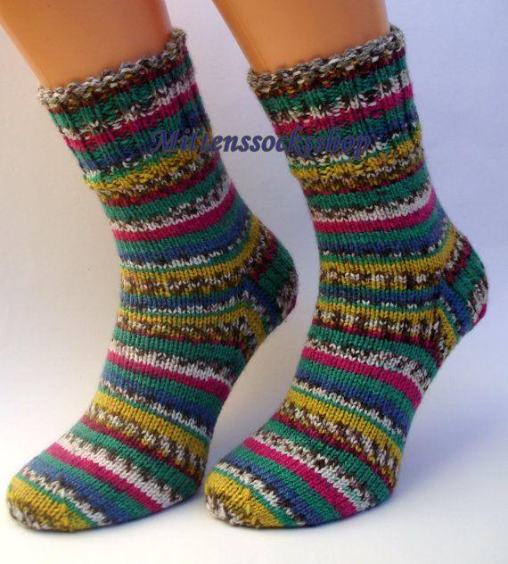 rainbow socks knit, socks with color, soft warm knit socks, unisex knitted socks, ladies socks knit, men's socks, trendy handmade socks.