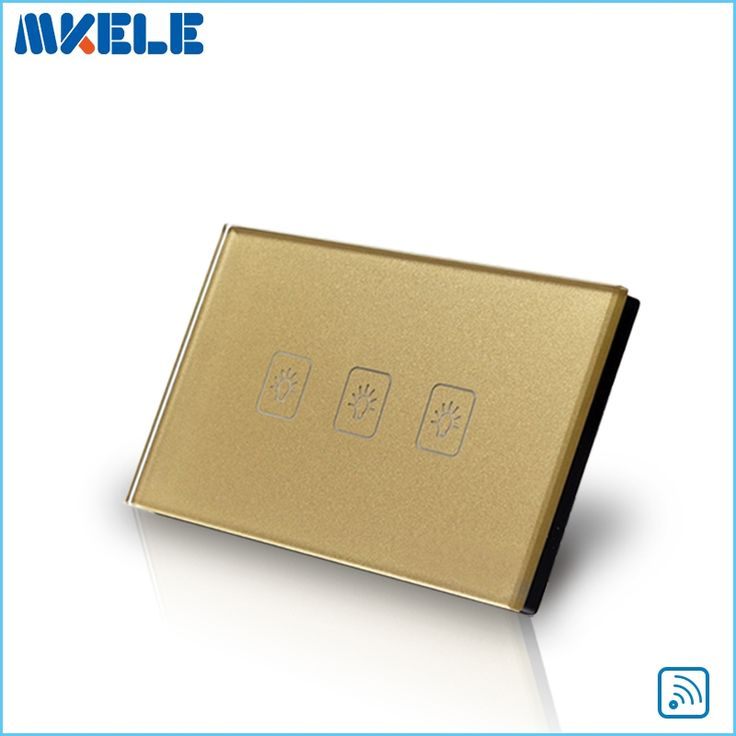 23.00$  Watch now - http://ali72j.shopchina.info/go.php?t=32742199305 - Remote Switch Wall Light Free Shipping 3 Gang 1 Way Control Touch US Standard Gold Crystal Glass Panel With LED Electrical  23.00$ #buychinaproducts