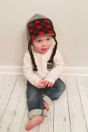 18e5409b7dd37 Free crochet pattern for a buffalo plaid trapper hat in sizes infant  through child.