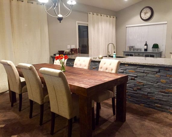 custom reclaimed wood farm dining table walnut by KaseCustom