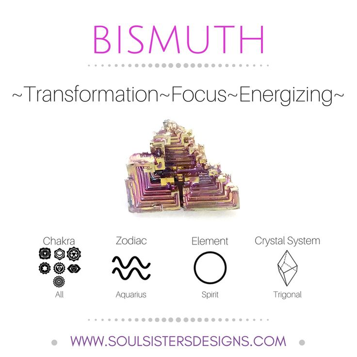 Metaphysical Healing Properties of Bismuth, including associated Chakra, Zodiac and Element, along with Crystal System/Lattice to assist you in setting up a Crystal Grid. Go to https://www.soulsistersdesigns.com to learn more!
