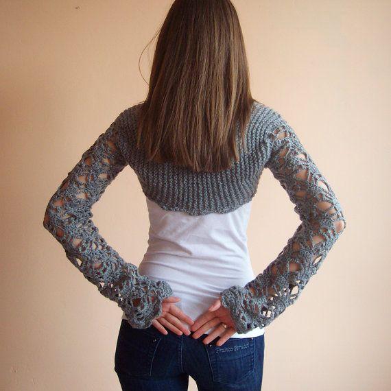 Grey Crochet  Long Sleeves Shrug Bolero ,Wedding  Lace Crochet  Bolero, Multifunctional Women Size S/M on Etsy, 42,03€
