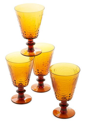 Chalice We Make a Toast? Glass Set - Multi, Vintage Inspired, Good, Orange, Yellow, Hostess, Wedding