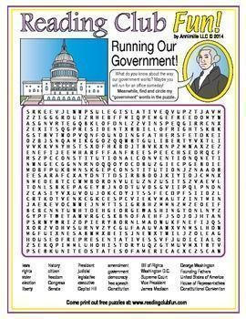 U.S. GOVERNMENT - Teach U.S. government vocabulary with this fun word search puzzle!