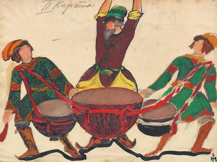 """Costume design for Rimsky-Korsakov's opera """"The Tale of Tsar Saltan"""" 1919"""