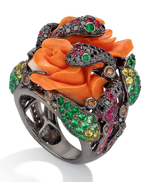 I Love the Snakes .. Cellini Jewelers - by Wendy Yue Coral Rose & Snake Ring
