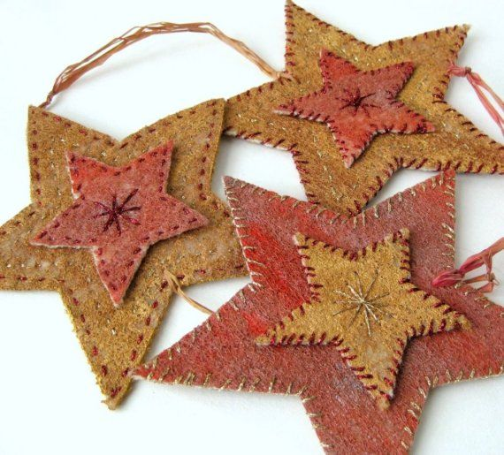 Christmas ornament star felted rustic country