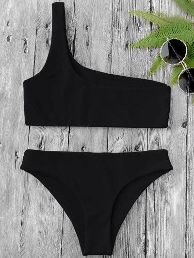 SHARE & Get it FREE | One Shoulder Bikini Set - Black MFor Fashion Lovers only:80,000+ Items • New Arrivals Daily Join Zaful: Get YOUR $50 NOW!