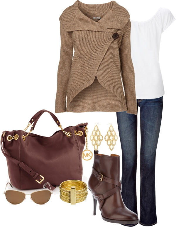 """""""Brown and Gold"""" by averbeek on Polyvore"""