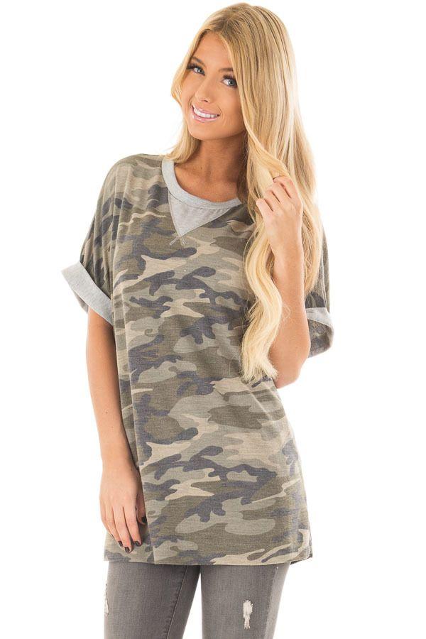 Olive Camo Print Tee Shirt with Heather Grey Contrast