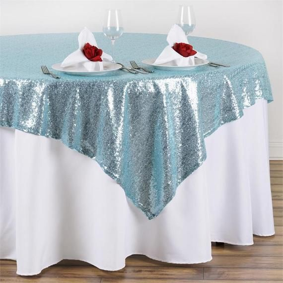 Irridescent Aqua Blue Tablecloth Square Overlay 90 Inch Ready To