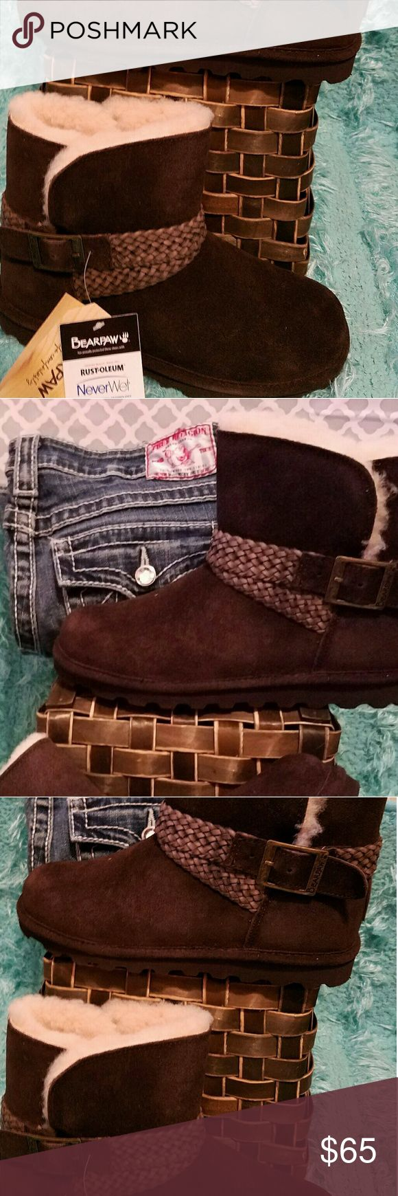 🐾BEAR PAW BOOTS🐾 Sooooo cute! So cuddly! Chocolate brown BearPaw Shoes Winter & Rain Boots