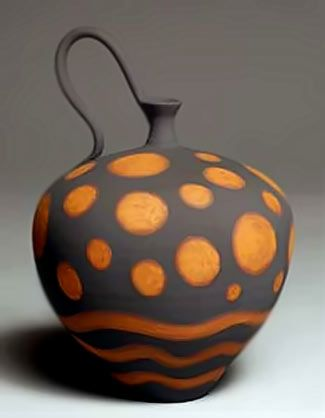 Red Planet Bottle – Nicholas Bernard. Earthenware vessel, thrown and hand-built. Decorated with brushed slips and oxides.