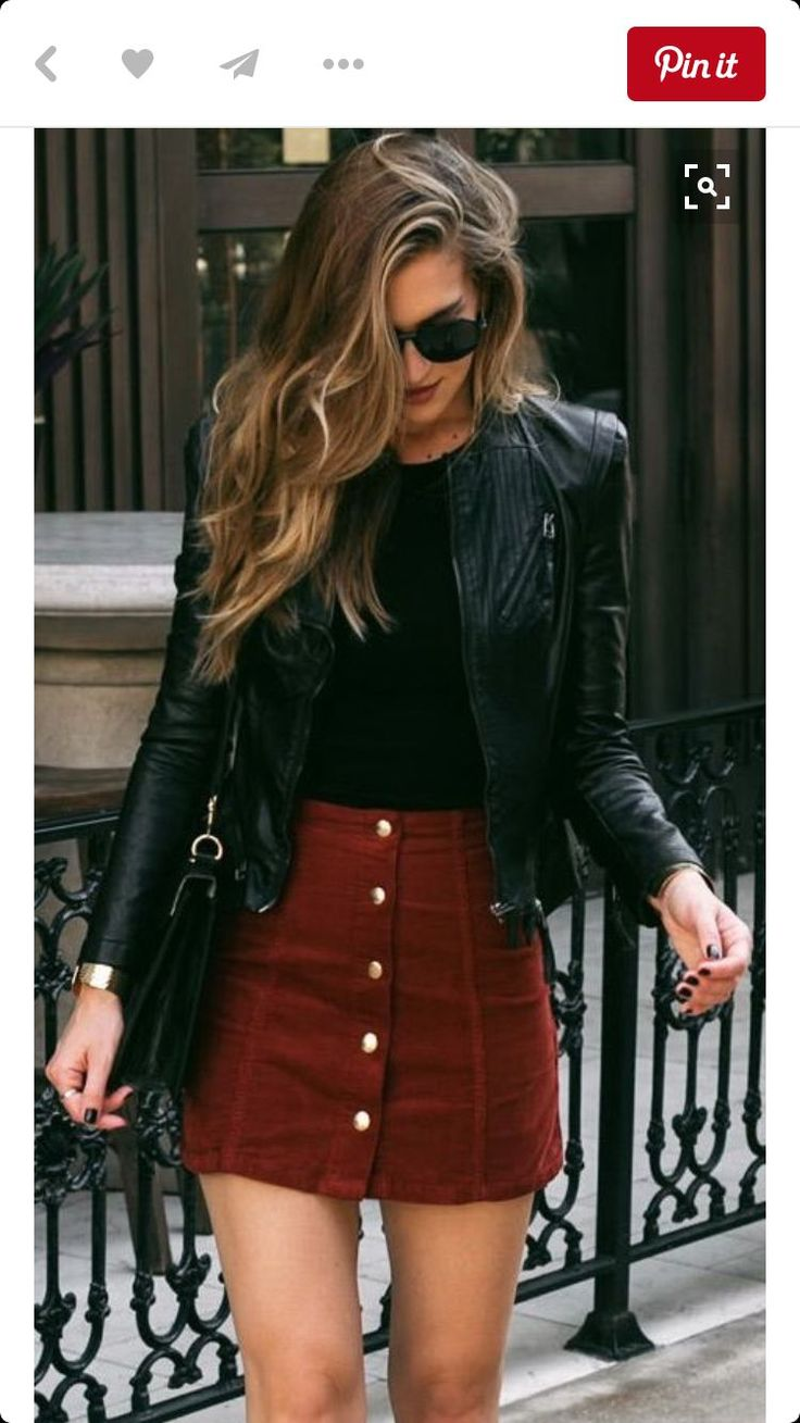Love pairing different materials! Love the color of skirt! Love this!