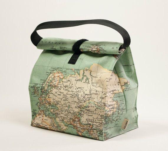Bolsa almuerzo mapa mundi. Bolsa reutilizable. Bolsa por TELANDO
