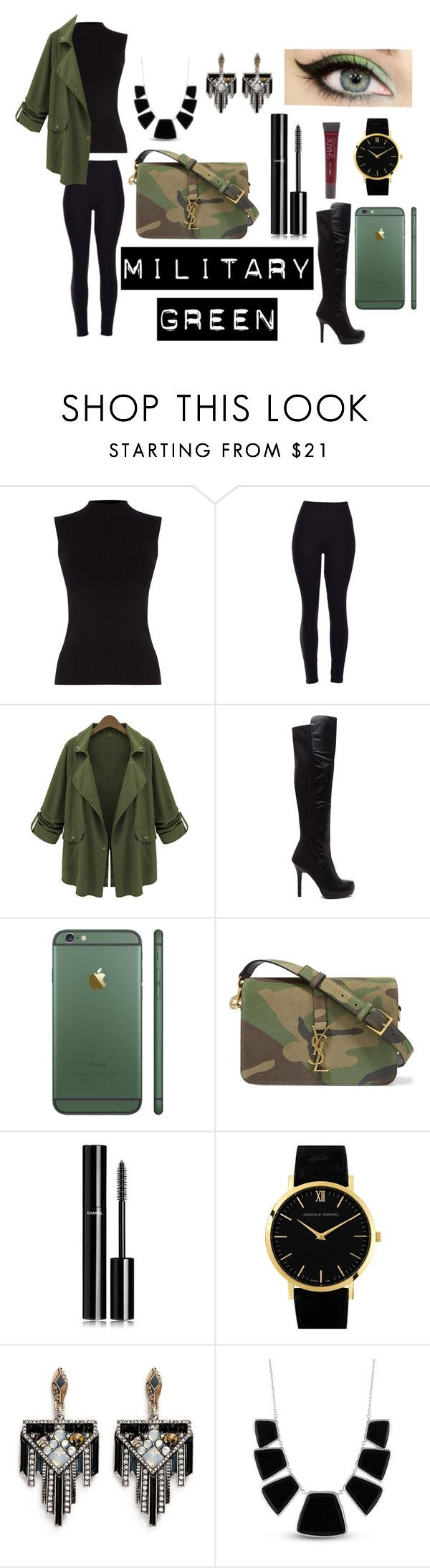 """""""Army Green"""" by miyalovefashion ❤ liked on Polyvore featuring Oasis, Yves Saint Laurent, Chanel, Larsson & Jennings, Lulu Frost, Karen Kane and Lane Bryant"""