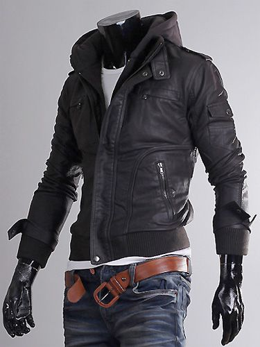 Slim-fit-Leather-jacket-Hoodie-jacket-for-men