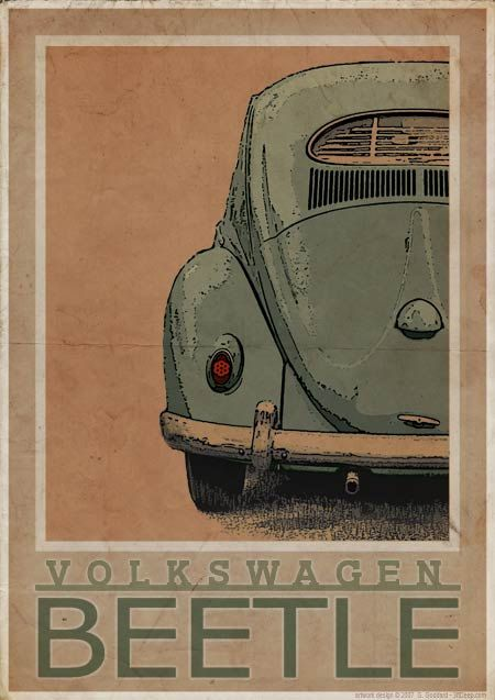 Volkswagen Type 1 Beetle Rear Vintage Style Poster by 3ftDeep