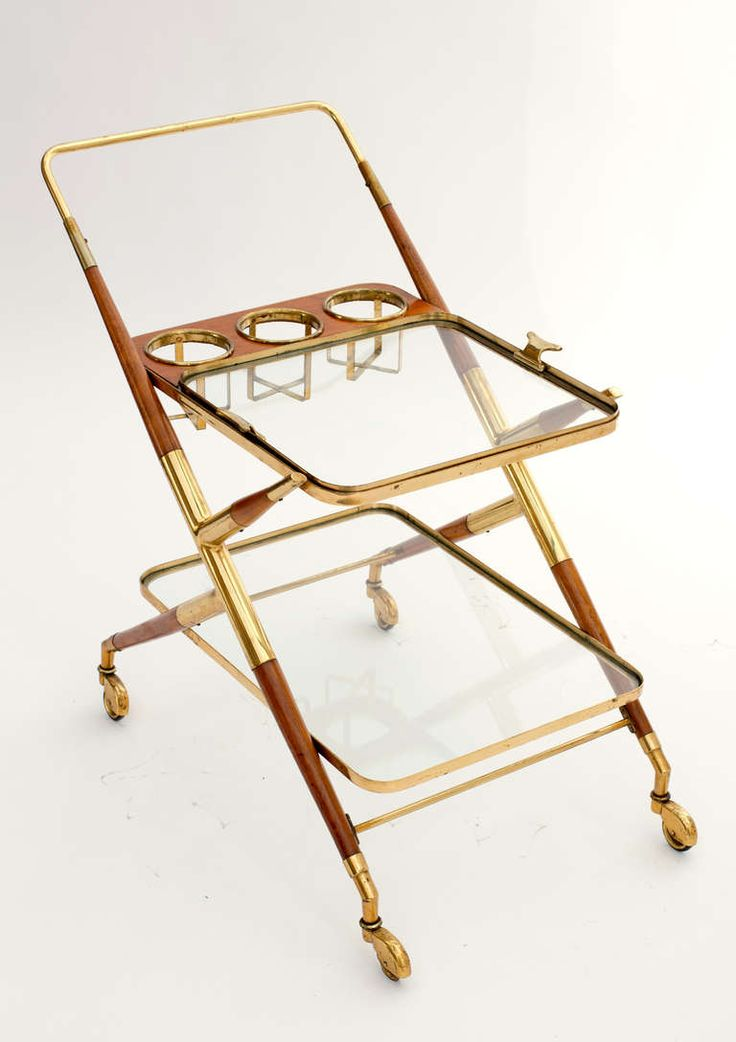Italian Vintage Br And Mahogany Bar Cart By Cesare Lacca