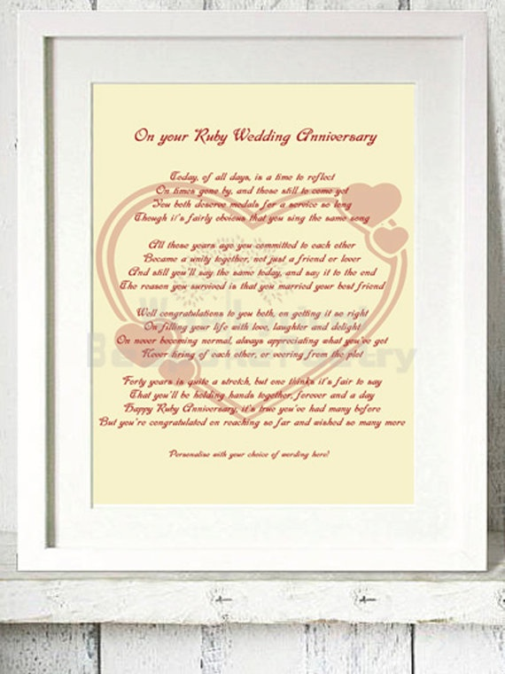 121 best ruby wedding anniversary images on pinterest anniversary ruby 40th wedding anniversary personalised by waxlyricalpoetry 1299 stopboris Gallery