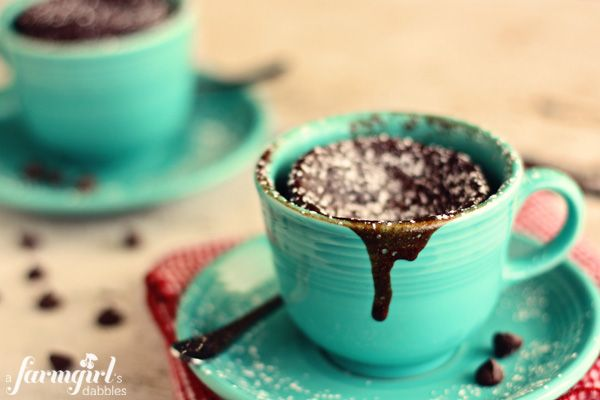 Gooey Chocolate Cake Cups for Two {in 2 minutes!} from @Brenda - a farmgirl's dabbles