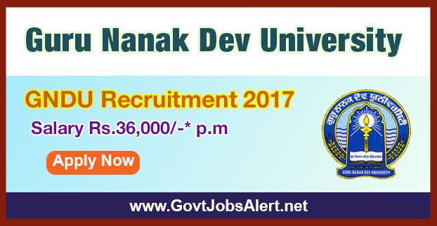 """GNDU Recruitment 2017 - Hiring Research Associate Post, Salary Rs.36,000/- : Apply Now !!!  The Guru Nanak Dev University – GNDU Recruitment 2017 has released an official employment notification inviting interested and eligible candidates to apply for the positions of Research Associate in CSIR funded Project """"Smart Disaster Management Using Internet of Things in Indian Perspective"""". The eligible candidates may apply online through the official website (given below)."""