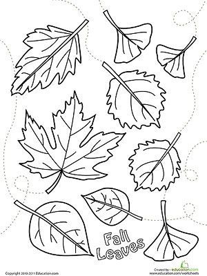 Printable Fall Coloring Pages: Falling Leaves (via http://Parents.com)