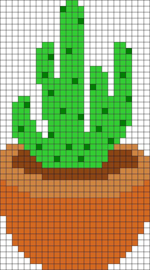 Potted Cactus Perler Bead Pattern / Bead Sprite