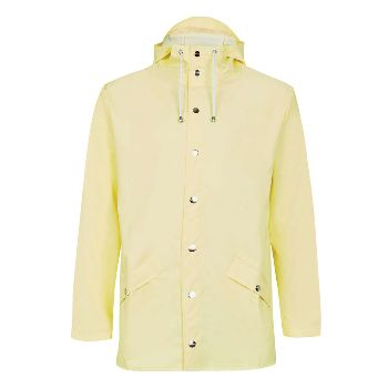 Rains Women's Light Yellow Hooded Jacket: Rains' waterproof jacket is a super cool, lightweight and practical raincoat from the Danish brand who specialise in creating simple and sophisticated pieces for rainy days.  Regular/casual fit, two ventilated eyelets under each armpit and on the back to ensure air circulation, inside seams have been crafted with ultrasonic precision welding.
