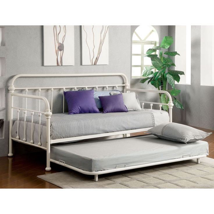furniture of america lissa modern 2piece metal daybed with trundle set overstock