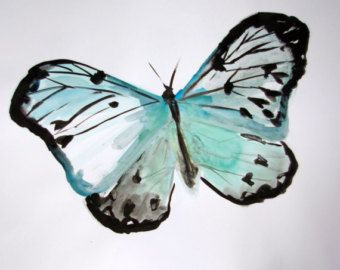 Watercolor Drawings Of Butterflies | Original Butterfly Watercolor and I nk Painting. Large Animal Painting ...